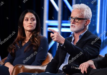 """John Slattery, Fernanda Andrade. John Slattery, right, a cast member in the television series """"neXt,"""" answers a question as fellow cast member Fernanda Andrade looks on during the 2020 FOX Television Critics Association Winter Press Tour, in Pasadena, Calif"""