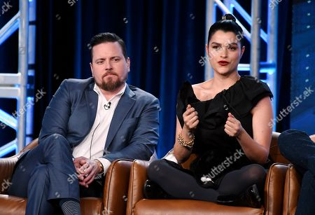 """Eve Harlow, Michael Mosley. Eve Harlow, right, a cast member in the television series """"neXt,"""" answers a question as fellow cast member Michael Mosley looks on during the 2020 FOX Television Critics Association Winter Press Tour, in Pasadena, Calif"""