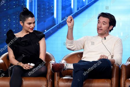 """Jason Butler Harner, Eve Harlow. Jason Butler Harner, right, and Eve Harlow, cast members in the television series """"neXt,"""" take part in a panel discussion on the show during the 2020 FOX Television Critics Association Winter Press Tour, in Pasadena, Calif"""