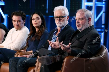 """Manny Coto, Jason Butler Harner, Fernanda Andrade, John Slattery. Manny Coto, right, the creator/executive producer/showrunner of the television series """"neXt,"""" addresses reporters as cast members, from left, Jason Butler Harner, Fernanda Andrade and John Slattery look on during the 2020 FOX Television Critics Association Winter Press Tour, in Pasadena, Calif"""