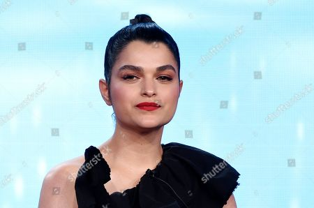 """Eve Harlow, a cast member in the television series """"neXt,"""" takes part in a panel discussion on the show during the 2020 FOX Television Critics Association Winter Press Tour, in Pasadena, Calif"""