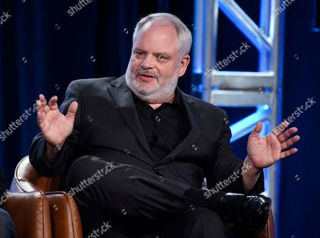 """Manny Coto, the creator/executive producer/showrunner of the television series """"neXt,"""" takes part in a panel discussion on the show during the 2020 FOX Television Critics Association Winter Press Tour, in Pasadena, Calif"""