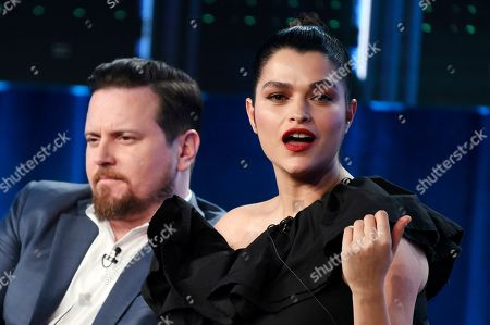 """Eve Harlow, Michael Mosley. Eve Harlow, a cast member in the television series """"neXt,"""" answers a question as fellow cast member Michael Mosley looks on during the 2020 FOX Television Critics Association Winter Press Tour, in Pasadena, Calif"""