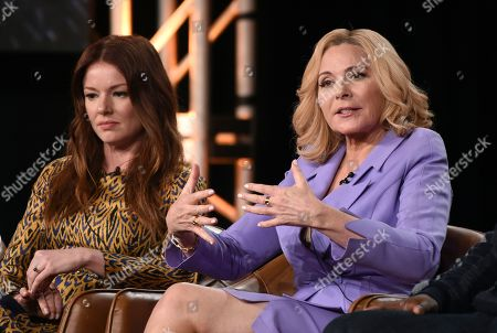 """Kim Cattrall, Aubrey Dollar. Kim Cattrall, right, a cast member in the television series """"Filthy Rich,"""" answers a reporter's question as fellow cast member Aubrey Dollar looks on during a panel discussion on the show at the 2020 FOX Television Critics Association Winter Press Tour, in Pasadena, Calif"""