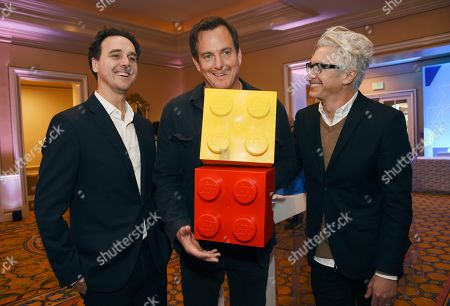 """Will Arnett, Andrew Dominici, Rob Wade. Will Arnett, center, host of the Fox television series """"Lego Masters,"""" poses with executive producer/showrunner Andrew Dominici, right, and Fox president of alternative programming Rob Wade during the 2020 FOX Television Critics Association Winter Press Tour, in Pasadena, Calif"""