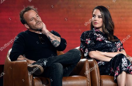"""Stephen Dorff, Yara Martinez. Stephen Dorff, left, and Yara Martinez, cast members in the television series """"Deputy,"""" take part in a panel discussion on the show during the 2020 FOX Television Critics Association Winter Press Tour, in Pasadena, Calif"""
