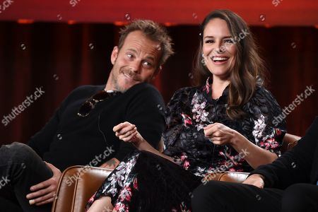 """Yara Martinez, Stephen Dorff. Yara Martinez, right, a cast member in the television series """"Deputy,"""" answers a question as fellow cast member Stephen Dorff looks on during the 2020 FOX Television Critics Association Winter Press Tour, in Pasadena, Calif"""