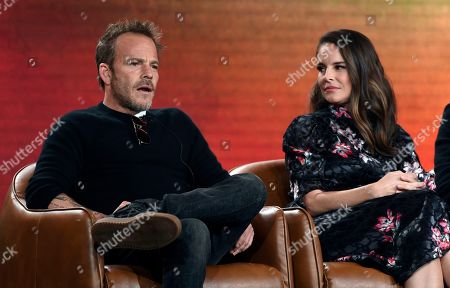 """Stephen Dorff, Yara Martinez. Stephen Dorff, left, a cast member in the television series """"Deputy,"""" answers a question as fellow cast member Yara Martinez looks on during the 2020 FOX Television Critics Association Winter Press Tour, in Pasadena, Calif"""