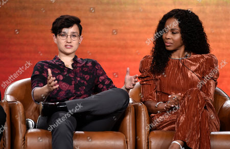 "Bex Taylor-Klaus, Danielle Mone Truitt. Bex Taylor-Klaus, left, and Danielle Mone Truitt, cast members in the television series ""Deputy"" take part in a panel discussion on the show during the 2020 FOX Television Critics Association Winter Press Tour, in Pasadena, Calif"
