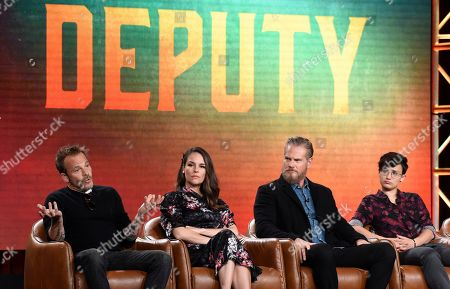 "Stephen Dorff, Yara Martinez, Brian Van Holt, Bex Taylor-Klaus. Stephen Dorff, from left, Yara Martinez, Brian Van Holt and Bex Taylor-Klaus, cast members in the television series ""Deputy,"" take part in a panel discussion on the show during the 2020 FOX Television Critics Association Winter Press Tour, in Pasadena, Calif"