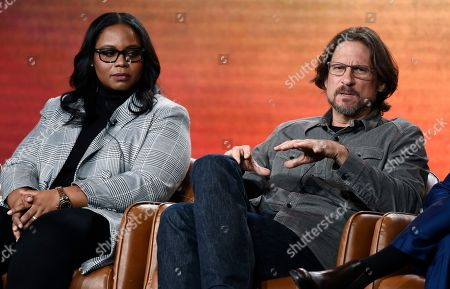 """David Ayer, Kimberly Ann Harrison. David Ayer, right, executive producer/director of the television series """"Deputy,"""" answers a question as executive producer/showrunner Kimberly Ann Harrison looks on during the 2020 FOX Television Critics Association Winter Press Tour, in Pasadena, Calif"""