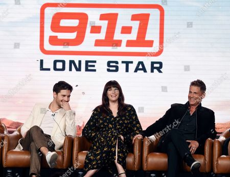 """Ronen Rubinstein, Liv Tyler, Rob Lowe. Ronen Rubinstein, from left, Liv Tyler and Rob Lowe, cast members in the upcoming television series """"9-1-1: Lone Star,"""" take part in a panel discussion on the show during the 2020 FOX Television Critics Association Winter Press Tour, in Pasadena, Calif"""