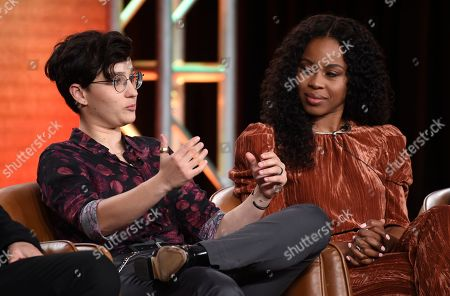 "Bex Taylor-Klaus, Danielle Mone Truitt. Bex Taylor-Klaus, left, and Danielle Mone Truitt, cast members in the television series ""Deputy,"" take part in a panel discussion on the show during the 2020 FOX Television Critics Association Winter Press Tour, in Pasadena, Calif"