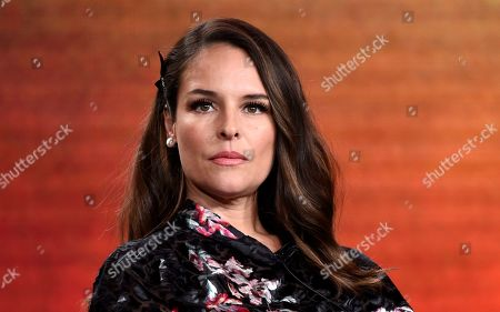 "Yara Martinez, a cast member in the television series ""Deputy,"" takes part in a panel discussion on the show during the 2020 FOX Television Critics Association Winter Press Tour, in Pasadena, Calif"