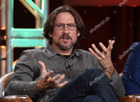 """David Ayer, director/executive producer of the television series """"Deputy,"""" takes part in a panel discussion on the show during the 2020 FOX Television Critics Association Winter Press Tour, in Pasadena, Calif"""