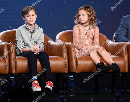 "Jack Stanton, Oakley Bull. Jack Stanton, left, a cast member in the television series ""Outmatched,"" answers a question as fellow cast member Oakley Bull looks on during the 2020 FOX Television Critics Association Winter Press Tour, in Pasadena, Calif"