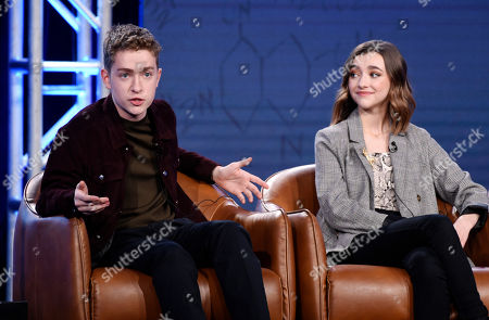 "Connor Kalopsis, Ashley Boettcher. Connor Kalopsis, left, and Ashley Boettcher, cast members in the television series ""Outmatched,"" take part in a panel discussion on the show during the 2020 FOX Television Critics Association Winter Press Tour, in Pasadena, Calif"