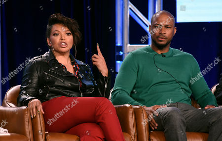 """Tisha Campbell, Finesse Mitchell. Tisha Campbell, left, and Finesse Mitchell, cast members in the television series """"Outmatched,"""" take part in a panel discussion during the 2020 FOX Television Critics Association Winter Press Tour, in Pasadena, Calif"""