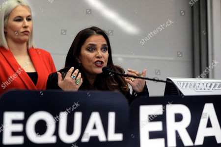 Stock Picture of Natalie White, Kamala Lopez, Jake Bailey, Tom Brady, Rob Gronkowski. Kamala Lopez, right, president of Equal Means Equal, faces reporters as Natalie White, left, vice president of the organization, looks on during a news conference, in Boston, held to address issues about a lawsuit filed in U.S. District Court. Supporters of the Equal Rights Amendment filed the federal lawsuit in Massachusetts aimed at paving the way for adoption of the long-delayed constitutional amendment