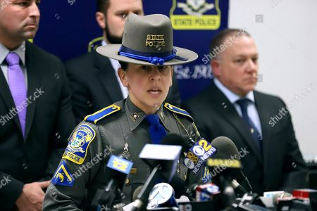 Stock Photo of Connecticut State Police information officer Christine Jeltema speaks at the State Police barracks, in Bridgeport, Conn., about arrests made in the death of Jennifer Dulos, who went missing from New Canaan, Conn., in May 2019. Fotis Dulos, her estranged husband, was arrested and charged with murder. His girlfriend Michelle Troconis and his friend, attorney Kent Mawhinney, each were charged with conspiracy to commit murder