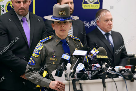 Connecticut State Police information officer Christine Jeltema speaks at the State Police barracks, in Bridgeport, Conn., about arrests made in the death of Jennifer Dulos, who went missing from New Canaan, Conn., in May 2019. Fotis Dulos, her estranged husband, was arrested and charged with murder. His girlfriend Michelle Troconis and his friend, attorney Kent Mawhinney, each were charged with conspiracy to commit murder