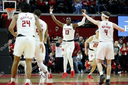 Rutgers forward Shaq Carter (13) reacts during the second half of the team's NCAA college basketball game against Penn State, in Piscataway, N.J. Rutgers won 72-61