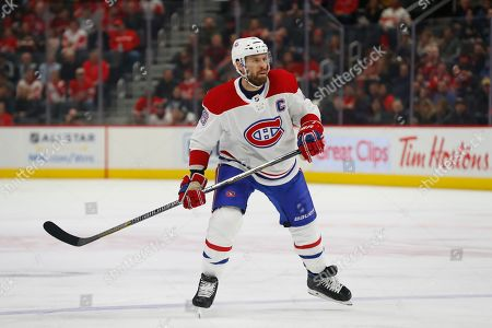 Montreal Canadiens defenseman Shea Weber plays against the Detroit Red Wings in the first period of an NHL hockey game, in Detroit