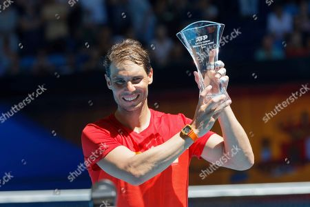 Stock Photo of Rafael Nadal of Spain poses for a photo after being presented with the ATP Stefan Edberg sportsmanship award at the ATP Cup tennis in Perth, Australia