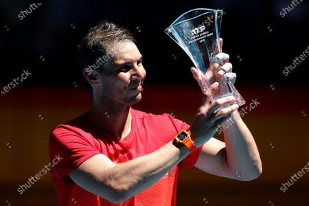 Stock Picture of Rafael Nadal of Spain poses for a photograph after being presented the 2019 Stefan Edberg Sportsmanship Award during day six of the ATP Cup tennis tournament at the RAC Arena in Perth, Australia, 08 January 2020.