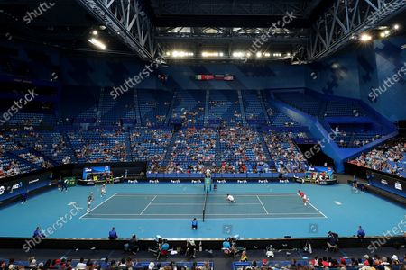 A general view of play of Rafael Nadal and Pablo Carreno Busta of Spain against Ben McLachlan and Go Soeda of Japan during day six of the ATP Cup tennis tournament at the RAC Arena in Perth, Australia, 08 January 2020.