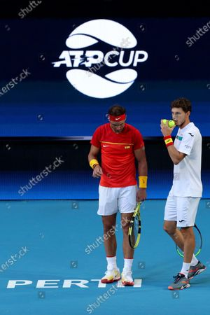 Rafael Nadal (L) and Pablo Carreno Busta (R) of Spain in action during their doubles match against Ben McLachlan and Go Soeda of Japan during day six of the ATP Cup tennis tournament at the RAC Arena in Perth, Australia, 08 January 2020.