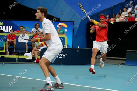 Rafael Nadal and Pablo Carreno Busta of Spain in action during their doubles match against Ben McLachlan and Go Soeda of Japan during day 6 of the ATP Cup tennis tournament at RAC Arena in Perth, Australia, 08 January 2020.