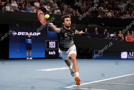 Gilles Simon of France in action against Lloyd Harris of South Africa during their singles match on day six of the ATP Cup tennis tournament at Pat Rafter Arena in Brisbane, Australia, 08 January 2020.
