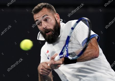 Benoit Paire of France in action during his match against Kevin Anderson of South Africa on day 6 of the ATP Cup tennis tournament at Pat Rafter Arena in Brisbane, Australia, 08 January 2020.