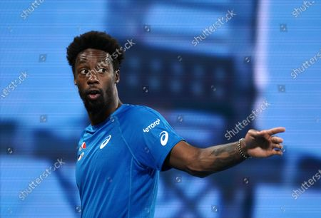 Gael Monfils gestures during the singles match between Benoit Paire of France and Kevin Anderson of South Africa on day 6 of the ATP Cup tennis tournament at Pat Rafter Arena in Brisbane, Australia, 08 January 2020.