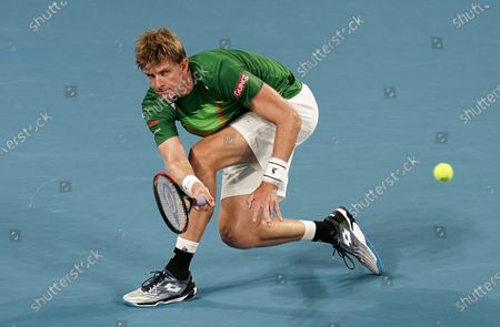 Kevin Anderson of South Africa in acction during his singles match against Benoit Paire of France on day 6 of the ATP Cup tennis tournament at Pat Rafter Arena in Brisbane, Australia, 08 January 2020.