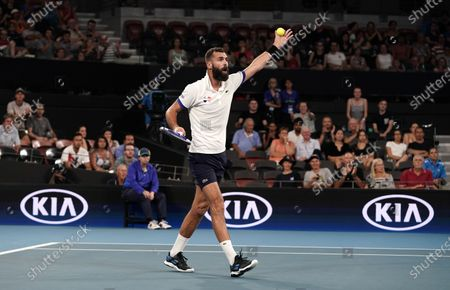 Stock Image of Benoit Paire of France reacts during his match against Kevin Anderson of South Africa on day 6 of the ATP Cup tennis tournament at Pat Rafter Arena in Brisbane, Australia, 08 January 2020.