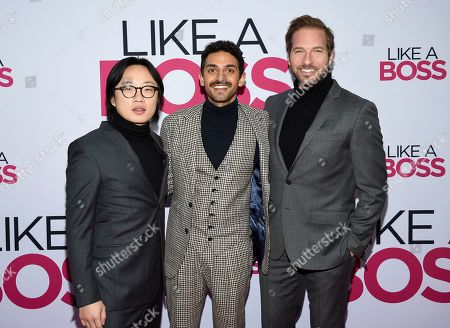 "Jimmy O. Yang, Karan Soni, Ryan Hansen. Actors Jimmy O. Yang, left, Karan Soni and Ryan Hansen attend the world premiere of ""Like a Boss"" at the SVA Theatre, in New York"
