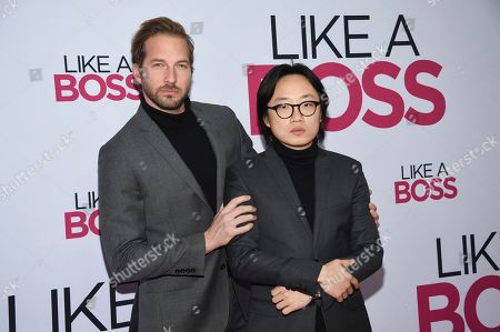 """Ryan Hansen, Jimmy O. Yang. Actors Ryan Hansen, left, and Jimmy O. Yang attend the world premiere of """"Like a Boss"""" at the SVA Theatre, in New York"""