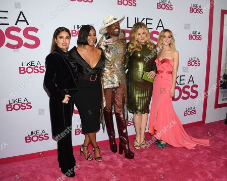 """Salma Hayek, Tiffany Haddish, Billy Porter, Jennifer Coolidge, Rose Byrne. Cast members, from left, Salma Hayek, Tiffany Haddish, Billy Porter, Jennifer Coolidge and Rose Byrne attend the world premiere of """"Like a Boss"""" at the SVA Theatre, in New York"""