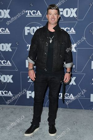 Robin Thicke attends the FOX All Star party at the Television Critics Association Winter press tour, in Pasadena, Calif
