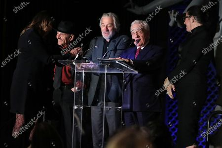 Jane Rosenthal, Joe Pesci, Robert De Niro, Martin Scorsese and Emma Tillinger