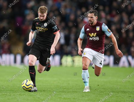 Kevin De Bruyne of Manchester City and Danny Drinkwater of Aston Villa
