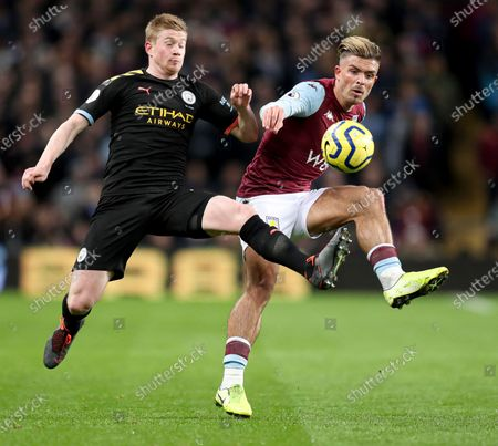 Kevin De Bruyne of Manchester City and Jack Grealish of Aston Villa