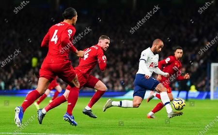 Lucas Moura of Tottenham Hotspur surrounded