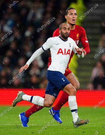 Lucas Moura of Tottenham Hotspur battles with Virgil Van Dijk of Liverpool