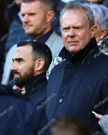 Swansea City ambassador Leon Britton and chairman Trevor Birch in the stands