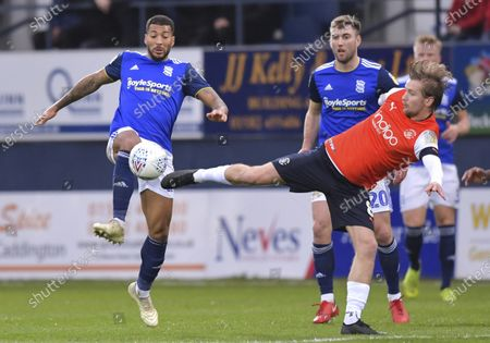 David Davis of Birmingham City under pressure from Luke Berry of Luton Town