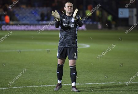 Lee Camp of Birmingham City applauds fans at the final whistle