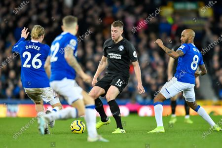 11th January 2020, Goodison Park, Liverpool, England; Premier League, Everton v Brighton and Hove Albion : Adam Webster (15) of Brighton and Hove Albion attempts to find a way past three Everton playersCredit: Simon Whitehead/News Images